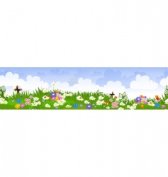 seamless flower fields vector image