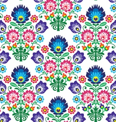 Seamless Polish Slavic folk art floral pattern - vector image