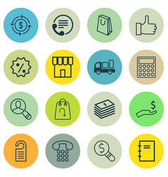 Set of 16 e-commerce icons includes delivery vector
