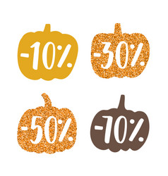 Stylish glitter pumpkins labels vector