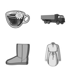 transport shoes and other monochrome icon in vector image