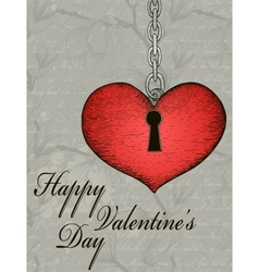 Vintage valentine card with hand-written heart and vector image vector image