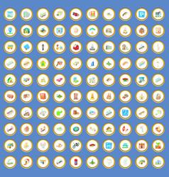 100 urban icons set cartoon vector image vector image