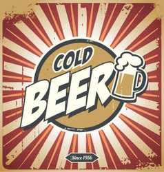 Vintage beer sign vector image