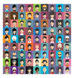 Set of people icons in flat style with faces 11 b vector