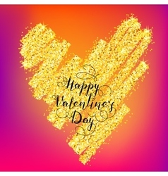 Valentines day greeting on gold heart vector image