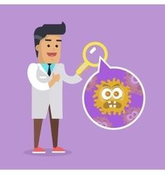 Scientist man investigate bacterium vector