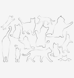 cats collection - outline set vector image