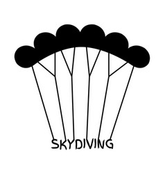 Skydiving logo in flat style black extreme sport vector