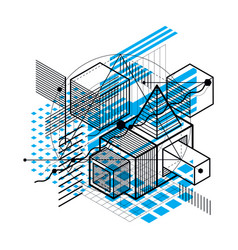 Lines and shapes abstract isometric 3d vector