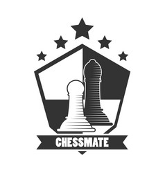 Chessmate club black and white emblem with pawns vector