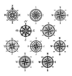 Vintage compass and wind rose isolated symbol set vector