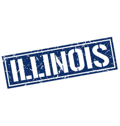 Illinois blue square stamp vector