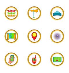 navigator icons set cartoon style vector image
