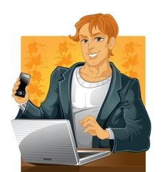 Young men with phone and laptop on vector