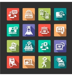 Flat online education icons vector