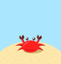 Cartoon cheerful crab at the beach natural vector