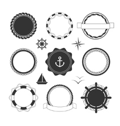 Nautical icons and badges templates vector