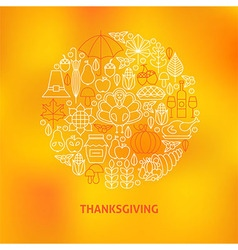 Thin line thanksgiving dinner holiday icons set vector