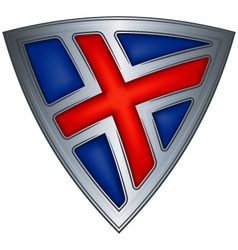 Steel shield with flag iceland vector
