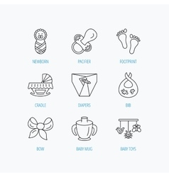 Pacifier newborn and baby toys icons footprint vector