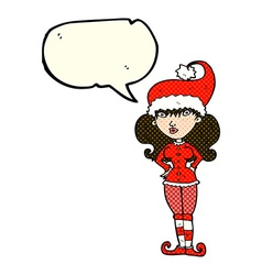 Cartoon santas helper woman with speech bubble vector
