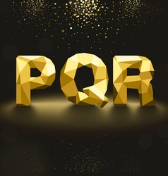 Golden lowpoly font from p to r vector
