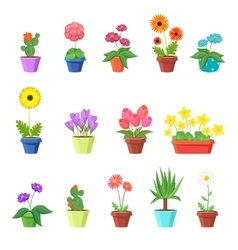 Cute spring flowers in pots vector