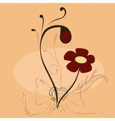 bow and floral background vector image