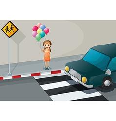 A girl near the pedestrian lane holding balloons vector image vector image