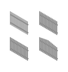 a set of isometric spans wooden fences vector image