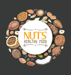 Background with nuts arranged in a circle vector