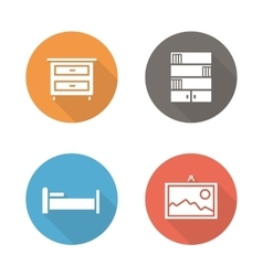 Bedroom flat design icons set vector image vector image