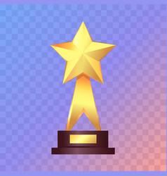 Best gold star trophy standing on white shelf vector