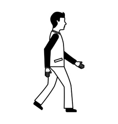 Businessman avatar walking icon vector