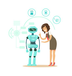 Businessman giving directions to humanoid robot vector