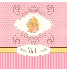 Cake hand drawn card with vector image vector image
