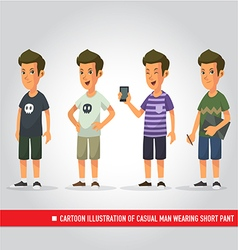 Cartoon of casual man wearing short pant vector
