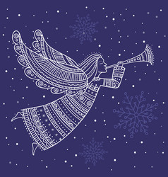 christmas angel with horn and snow vector image