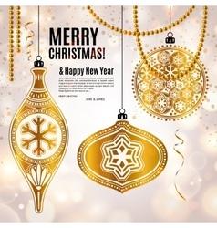 Christmas card with golden ornamental xmas balls vector image