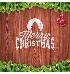 Christmas typographic design on wood background vector image