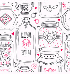 Cute pattern with doodle sweet mason jars vector