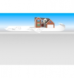 detailed house model on plans vector image vector image