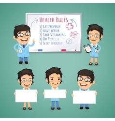 Doctors Presenting Empty Banners vector image vector image