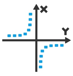 Dotted hyperbola plot icon vector