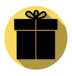 gift sign flat black icon with flat vector image