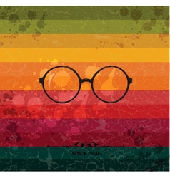 Glasses label on colorful retro background vector image