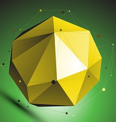 Gold abstract spherical object with lines mesh vector