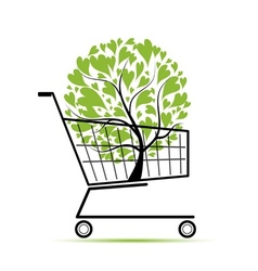 Green tree in shopping cart for your design vector image vector image