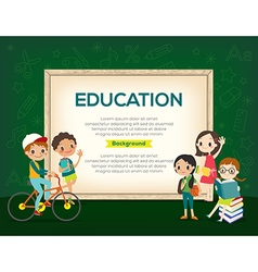 Group of kids education background vector